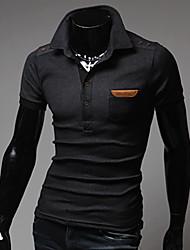 Informeel/Zakelijk Shirt Kraag - MEN - T-shirts ( Katoen )met Korte Mouw