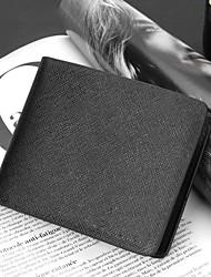 Men's PU Leather Short Card Holder Foldable Business Wallet