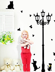 Lovely Cats Playing With Butterfly Around Lamppost Wall Decal Zooyoo030L Removable Pvc Wall Sticker