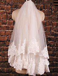 Wedding Veil Two-tier Elbow Veils Lace Applique Edge