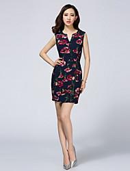LIFVER® Women's Floral Printed V Neck Sleeveless Bodycon Dress - XZ52058
