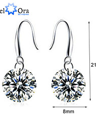 Fashion Drop Eearrings For Lady Vivid Rhodium Plated CZ Drop Earrings For Women