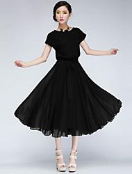 Women's Casual Short Sleeve Dresses (Chiffon)