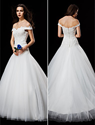 Ball Gown Wedding Dress - Ivory Court Train Off-the-shoulder Lace/Tulle