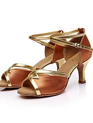 sandálias sol lisa salsa latina das mulheres customizáveis personalizadas sapatos de dança de cetim salto fivela (mais cores)