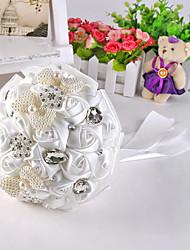 Fleurs de mariage Rond Roses Pivoines Bouquets Mariage La Fête / soirée Satin Soie Dentelle Strass Env.28cm
