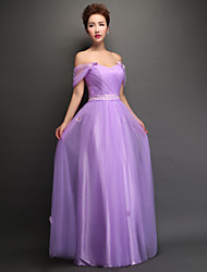 Floor-length Tulle Bridesmaid Dress - Lace-up Sheath / Column Off-the-shoulder with Lace