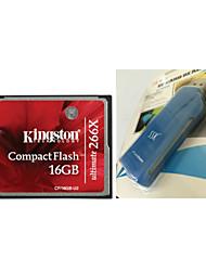 kingston cf / tarjeta de memoria compact flash 16gb ultimate-u2 (16gb / clase 151 ~ 266x) y lector de tarjetas cf