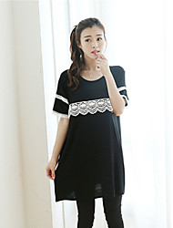 Maternity Casual Hollow Lace Short Sleeve Long T-shirt