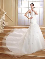 Trumpet/Mermaid Court Train Wedding Dress -Scoop Tulle