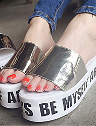 Women's Shoes Synthetic Wedge Heel Wedges Slippers Casual Silver/Gold