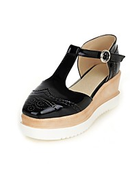 Women's Shoes Wedge Heel Wedges/Platform/Round Toe Loafers Dress Black/Pink/White