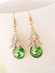con diamantes pendientes de cristal gota para el oído hojas pequeñas