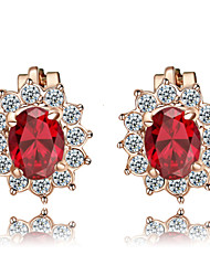T&C Women's Lovely Red Crystal Clip-On Earrings Sun Flower 18K Rose Gold Plated Fashion Ruby Jewelry