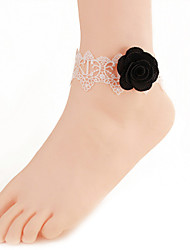 Women Fashion Body Jewelry Summer Beach Gothic Style Charm Vintage Casual Lace Black Rose Flower Anklets