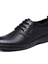wukaa Men's Shoes Black/Brown Flat Heel Oxfords