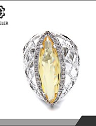Platinum-Plated Elegant Oval Yellow Zircon Ring