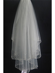 Wedding Veil Two-tier Fingertip Veils Pencil Edge Tulle White / Ivory / Beige
