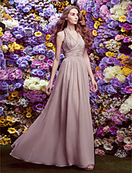 Lanting Floor-length Chiffon Bridesmaid Dress - Champagne Plus Sizes / Petite Sheath/Column Halter