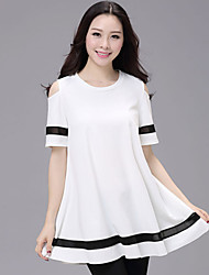 Women's Fat MM Long In Loose Off The Shoulder T Shirt