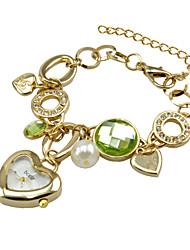 Sliver/Gold Plating Chain Watch Ladies Women Dress Rhinestone Watch Heart Pendant Japan Movement Quartz Watch Cool Watches Unique Watches