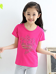 Girl's Summer Micro-elastic Opaque ½ Length Sleeve Tees (Knitwear)