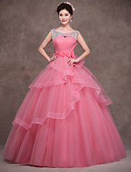 Formal Evening Dress - Pearl Pink Petite Ball Gown Scoop Floor-length Satin / Tulle / Polyester