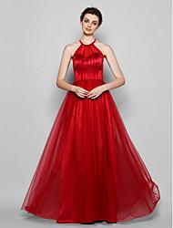 Vestido de Dama de Honor - Rojo Corte A Escote Halter - Hasta el Suelo Tul