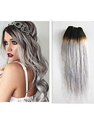 "3pcs / lot peruanische Menschenhaar ombre grauen Haar spinnt 10 ""-34"" 1b / grau ombre Haarverlängerungen"