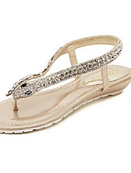 Women's Shoes Flat Heel T-Strap Sandals Casual Silver/Gold
