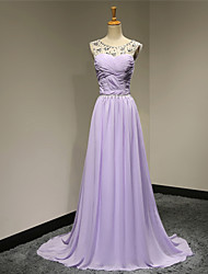Formal Evening Dress A-line Scoop Sweep / Brush Train Chiffon with Beading
