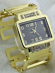 reloj de pulsera de la señora de moda de lujo de línea rectangular de la mujer