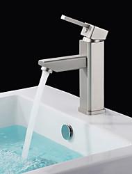 Shengbaier Morden Nickel Brushed Finish Solid Brass Bathroom Sink Faucet