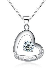 jazlyn® donna platinato 925 in argento sterling cuore amore cava zirconi San Valentino regalo Collana