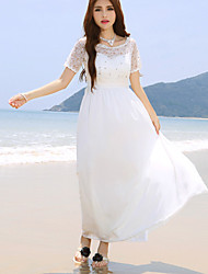Women's Vintage Casual Micro Elastic Short Sleeve Maxi Dress (Lace)