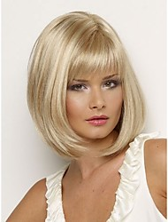 Bob Synthetic wigs Short Straight hair Blonde Wig for women Natural wigs with bangs