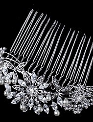 Flashion Charming Wedding Party USA Bride Flower Austria Crystal Pearls Handmake Silver Combs Hair Accessories