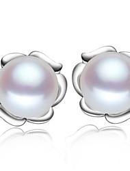 plaqué z & x® 925 simples perles fraîcheur de l'eau boucles d'oreilles mariage / fête / jour