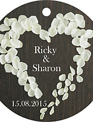 Personalized Circular Wedding Favor Tags - Heart of Roses Design (Set of 36)