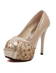 Women's Shoes Tulle Stiletto Heel Peep Toe/Platform Sandals Casual Silver/Gold