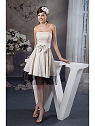 A-line Tea-length Wedding Dress -Strapless Lace