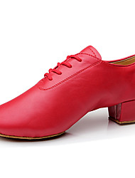 Non Customizable Women's Dance Shoes Belly/Latin/Salsa/Samba Leather/Leatherette/Synthetic Chunky Heel Red