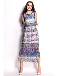 Women's Floral/Print Blue Dress , Party/Maxi Off Shoulder/Round Neck/Stand Sleeveless Layered/Split/Mesh