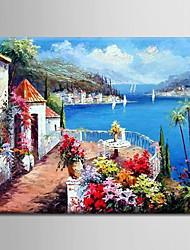 Ölgemälde Dekoration abstraktes mediterrane Szene handgemalte Leinwand mit gestrecktem gerahmten