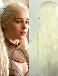 longo menina PureColor Daenerys luz cachos dourados de fibra temperatura cosplay 28inch Targaryen perucas de cabelo sintético
