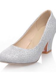 Women's  Chunky Heel Heels Pumps/Heels Dress Purple/Silver