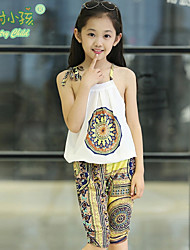 Country Child® Girl's Printing Micro-elastic Thin Sleeveless Clothing Sets (Chiffon) More Colors Available