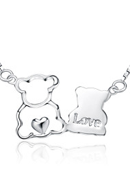 Jazlyn® Authentic Platinum Plated 925 Sterling Silver Women 1MM Loving Bear Link Chain Necklace Valentines Gift