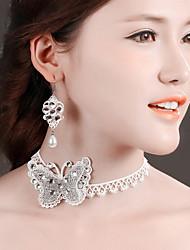 Bride Wedding White Butterfly  Diamond Noble Flower Earring Necklace Set