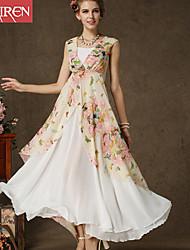 Muairen®Women'S Korea Composite Wire Printing Double Big Swing Dress